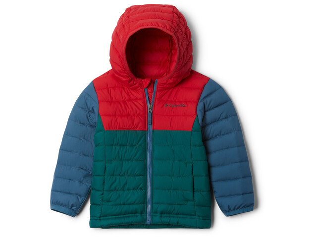 Columbia Powder Lite Chaqueta con Capucha Niños, pine green/mountain red/blue heron